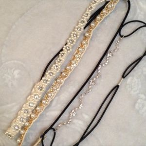 Rhinestone & Pearl Headbands Set Of 3